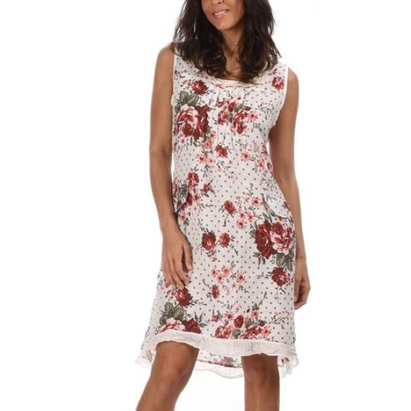 Couleur Lin Dresses | White Red Linen Dress Eu 38 Us 6 | Poshmark
